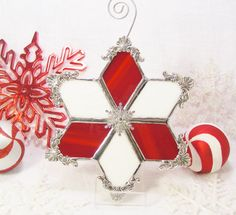 Peppermint Snowflake by MoreThanColors on Etsy, $32.50