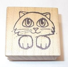 Cute Big Eyed kitty cat rubber stamp paws out kitten Pets Card making wood mount #Unbranded #KittensCats