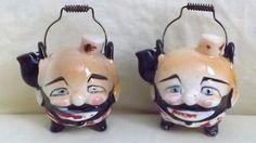 Vintage Anthropomorphic Teapot Weird Hobo Clown Bell Hop Salt & Pepper - JAPAN
