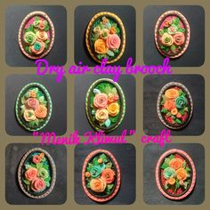 """Flowers"" dry air clay brooch This is my handycraft products For information and pricing please contact 7retty@gmail.com"
