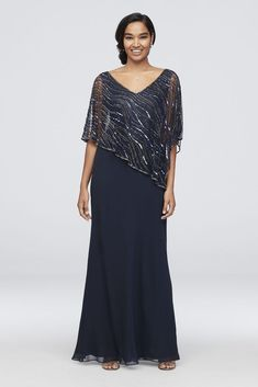 Lace dress with sleeves - Chiffon VNeck Sheath Dress with Beaded Capelet Style Navy, 12 – Lace dress with sleeves Mob Dresses, Necklines For Dresses, Dressy Dresses, Bridesmaid Dresses, Mother Of The Bride Dresses Long, Mother Of Bride Outfits, Mother Of The Bride Looks, Bride Groom Dress, Bride Gowns