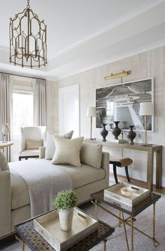 Taking inspiration from a coastal setting ~  beiges and white are a classic Hamptons colou...