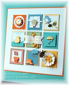 paper, punch, ink sampler from Downstairs Designs ... Spring colors of aqua, yellow and orange ...like the cute vignettes ...