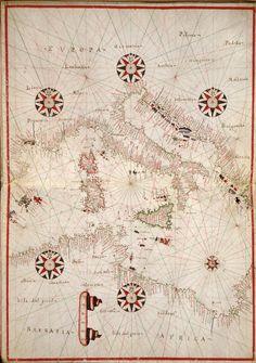 Central Mediterranean - [1590 Portolan atlas of the Mediterranean Sea, western Europe, and the northwest coast of Africa]