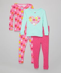 Take a look at this Candlesticks Aqua & Pink Kitty Love Pajama Set - Infant today!