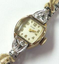 Vintage Estate Ladies Elgin Manual Wind Watch 10kt RGP Bezel Spiedel USA Band #Elgin