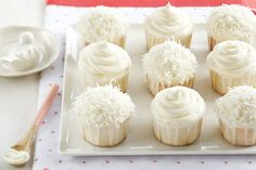 Coconut Lime Cupcakes These cupcakes are a delicate confection of sweetness and light with a tangy, tropical twist. Baking Cupcakes, Yummy Cupcakes, Cupcake Recipes, Cupcake Cakes, Dessert Recipes, White Cupcakes, Cheesecake Cupcakes, Mini Cupcakes, Coconut Lime Cupcakes