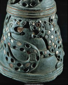 SUMER VESSEL 5TH-2ND MILL.BCE  Jug, decorated with shells, lions, snakes, and coloured stones. Fragment, staetite Height 14.2 cm Nr. 66071  Iraq Museum, Baghdad, Iraq