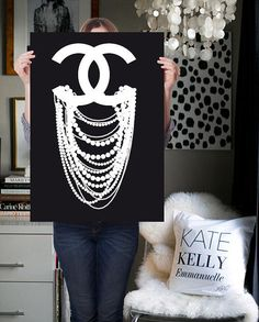 chanel print - chanel poster - chanel inspired - CC dripping pearl - Coco Chanel art - chanel art - wall decor - fashion from ShufflePrints on Etsy.