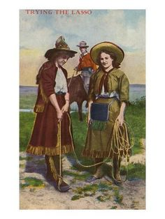 size: Art Print: Cowgirls Trying the Lasso Poster : Fine Art Cowgirls, Cowgirl And Horse, Vintage Cowgirl, Tropical Art, Native American Indians, Native Americans, Vintage Art, Vintage Photos, Vintage Photography
