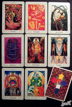Aleister Crowley's Thoth Tarot ~My new favorite everyday deck!!!  Hard to beat the uniqueness and intricate design of this deck!!! <3