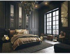 Perfect Bedroom Interior Design Ideas With Luxury Touch 24 — Home Design Ideas Luxury Bedroom Design, Master Bedroom Design, Luxury Interior, Home Decor Bedroom, Modern Bedroom, Bedroom Designs, Dark Bedrooms, Master Bedrooms, Master Suite