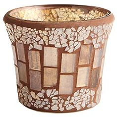 Champagne Crackle Mosaic Votive - Pier One, I'm thinking Fall Mosaic Planters, Mosaic Garden Art, Mosaic Vase, Mosaic Flower Pots, Ceramic Flower Pots, Mosaic Diy, Mosaic Crafts, Mosaic Projects, Mosaic Tiles