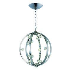 Maxim Equinox LED Single Pendant (Polished Nickel - Beveled Crystal), Silver