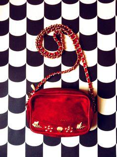 Red Suede Bag with Gold Details. #ragandbonemanvintage #sustainablefashion #vintage #berlin #suedebag