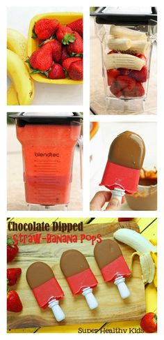 Chocolate dipped strawberry banana Pops from Super Healthy Kids! #healthyfrozentreats