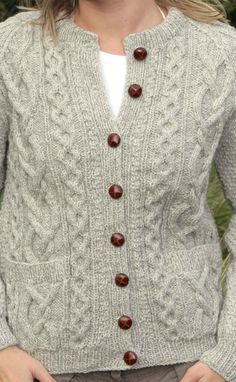 Ladies Luxury Hand-Knitted Aran Cardigan - Sunart _ by Traditional Hand Knitters Colour: Limestone _ £139.99