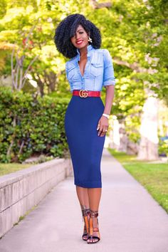Page 6 – Daily outfits from Folake Kuye Huntoon Business Casual Outfits, Classy Outfits, Stylish Outfits, Pencil Skirt Casual, Pencil Skirt Outfits, Pencil Dresses, Pencil Skirts, Diva Fashion, Look Fashion