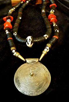 Boho Necklace - Tribal Necklace --Single or Double Strand  Necklace - Tibetan Brass Pendant - Batik Beads - Black,Red Necklace