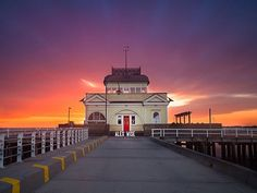 St Kilda Pier by Alex Wise on Best Sunset, St Kilda, Melbourne Australia, Historic Homes, Places To See, Taj Mahal, Around The Worlds, Travel, Long Exposure