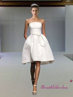 Cheap weddings, Buy Quality wedding gown satin directly from China simple bridal gown Suppliers: Simple A Line Off The Shoulder Bow Decoration Zipper Back Modest Strapless A Line Knee Length Wedding Gown Notice: Famous Wedding Dresses, Wedding Dress Styles, Bridal Gowns, Wedding Gowns, Wedding Hair, Wedding Stuff, Strapless Dress Formal, Formal Dresses, Tea Length Wedding Dress