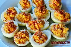 BODYROCKER'S EGGS Healthy deviled eggs without the mayo. 6 hard boiled eggs, 6 teaspoons of plain yogurt, 2 teaspoons of dijon mustard, 2 teaspoons of finely chopped onion, 2 tablespoons of honey, 2 tablespoons of paprika, chili powder.