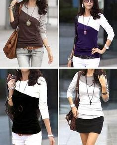 diagonal color block tshirt tutorial / 2 shirts: This to try, CUTE! Shirt Refashion, Diy Shirt, Diy Clothing, Sewing Clothes, Sewing Shirts, T Shirt Tutorial, Diy Kleidung, Diy Vetement, Diy Mode