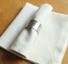 set of 6 ivory linen napkins