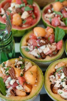 Easy entertaining! Chicken Melon Salad Bowls (watermelon or cantaloupe) ReluctantEntertainer.com
