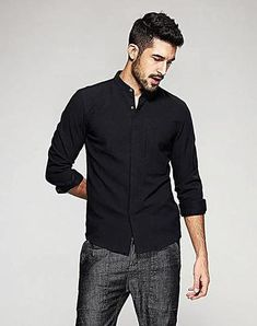 e7f5920fda9 Long Sleeve Casual Slim Fit Shirt with Velvet