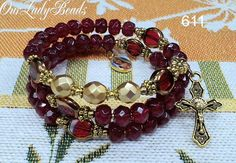 Rosary Bracelet,Dark Red Glass Beads Wrap Rosary Bracelet,Mother's Day Gift,Bridal,Wedding,Confirmation,Catholic Bracelet,#611 by OURLADYBeads on Etsy