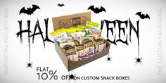 Order now and get flat 10% discount on your custom snack boxes. book your order at 888-851-0765 or get a free custom quote. Custom Packaging, Box Packaging, Snack Box, Custom Boxes, Snacks, Prints, Appetizers, Printmaking, Treats