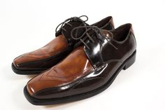 Stacy Adams Mens 12 M Brown Dark Brown Leather Two Tone Oxford Dress Shoes #StacyAdams #Oxfords
