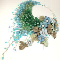 Купить Речное Парфе. Колье из натуральных камней, цветы из кожи - темно-бирюзовый, морская волна