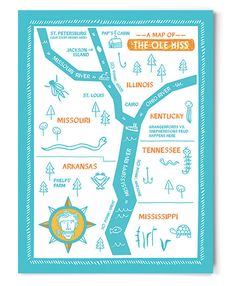 Map of the Ole Miss (Limited Edition) - childrens art  Huckleberry Finn Tom Sawyer