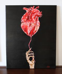 Human Heart, acrylic painting on canvas 40x50cm ©Billy Heart Canvas, Heart Painting, Human Heart, Acrylic Painting Canvas