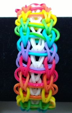 Rubber Band Loom Designs | Rainbow Loom Band Rope Ladder Design Rainbow by AshleysBands