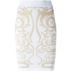 Versace Jeans Stylised Design Skirt (15,605 INR) ❤ liked on Polyvore featuring skirts