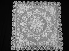 Vintage Square White Filet Lace Tablecloth Roses Handcrocheted by VintageHomeStories on Etsy Shabby Chic Decor, Vintage Home Decor, Rustic Decor, Lace Doilies, Moroccan Decor, Square, Floor Decor, French Decor, Cottage Chic
