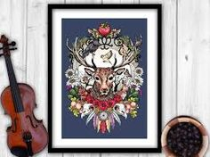 Majestic Stag Art Print by Lancashire Artist Becca Who. Features a Red Deer Stag surrounded by Scottish Woodland Wildlife. High Quality Giclee Print on Luxury Velvet Fine Art Paper.
