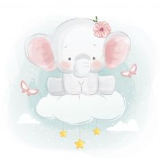 Cute Cartoon Elephant And Balloons Illustration Baby Elephant Drawing, Baby Animal Drawings, Baby Elephant Nursery, Cute Baby Elephant, Cartoon Elephant, Cute Drawings, Illustration Mignonne, Cute Illustration, Watercolor Illustration