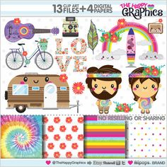 Hippie Clipart Hippy Clipart COMMERCIAL USE by TheHappyGraphics
