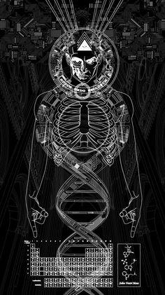 DNA of Fractal Human Existence - drawings La Santa Muerte Tattoo, Psychadelic Art, Satanic Art, Sacred Geometry Art, Esoteric Art, Psy Art, Occult Art, Arte Horror, Medium Art