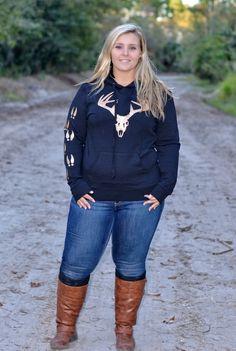 Sporty Girl Apparel - women's plus size Black hoodie with Gold Glitter Buck head , $35.00 (http://www.sportygirlapparel.com/womens-plus-size-black-hoodie-with-gold-glitter-buck-head/)
