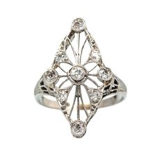Anniston is a super unique vintage Edwardian diamond ring from Trumpet & Horn in an unusual navette shape. TrumpetandHorn.com // $2,250