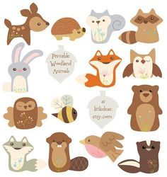 Printable Woodland Animals by Aimee Ray. These cuties are perfect for making banners, cards, party decorations, scrapbooks, even plush or ornaments! Download PDF printables Sets 1 and 2 at http://www.littledear.etsy.com
