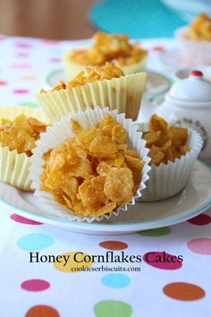 Honey Cornflakes Cakes - also known as Honey Joys. A simple, quick treat. Fun to make with kids or make them for a children's party.