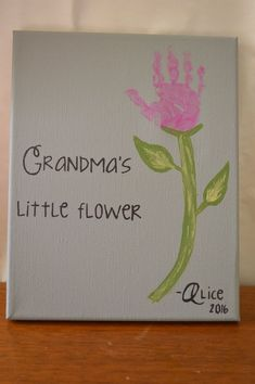 Just add the childs handprint on this Flower Handprint Canvas. Every aspect of this kit is completely customizable to fit any color scheme. The Canvas pictured is perfect for a little hand. Please see the different variations for different size hands Grandparents Day Crafts, Grandparent Gifts, Mothers Day Crafts, Toddler Art, Toddler Crafts, Preschool Crafts, Family Crafts, Baby Crafts, Crafts For Kids