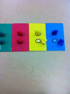 TEACCH task.  Matching colored bears.