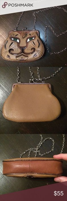 """Brighton Leather """"Huntress"""" Cat Pouch/Crossbody Brand: Brighton  Description: Cat Crossbody """"Huntress"""" Condition: Pre-Owned; Like New, no stains, wear, or stains  Adorable  small leather cat pouch with removable crossbody chain from Brighton. Brighton Bags Crossbody Bags"""